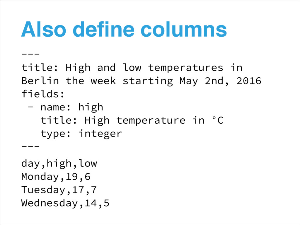 Also define columns --- title: High and low temp...