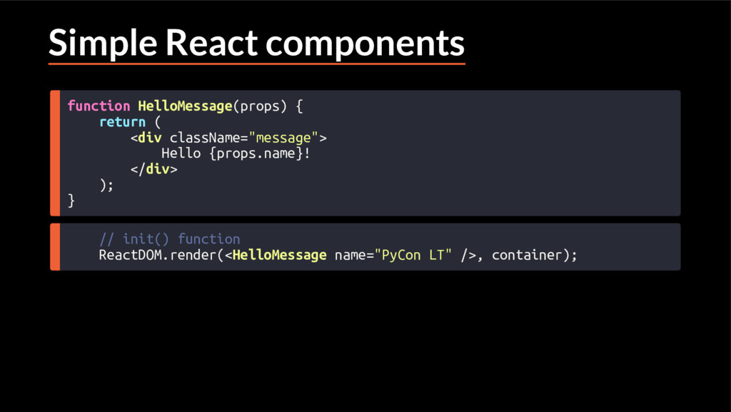 Simple React components function HelloMessage(p...