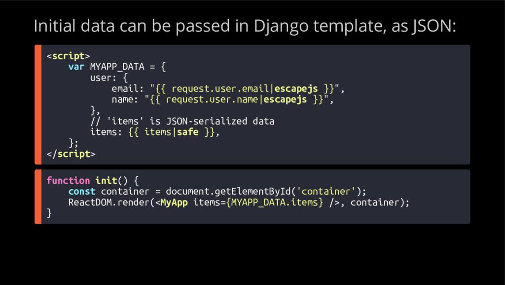 Initial data can be passed in Django template, ...