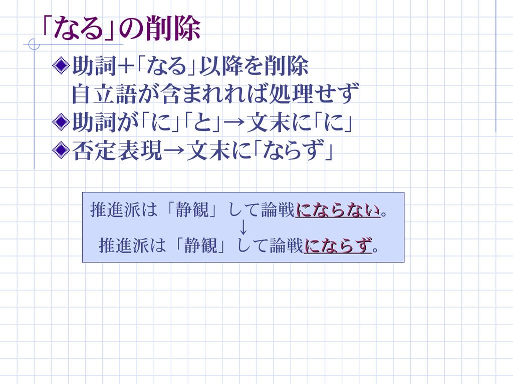 「なる」の削除 助詞+「なる」以降を削除  自立語が含まれれば処理せず 助詞が「に」「と」→文...