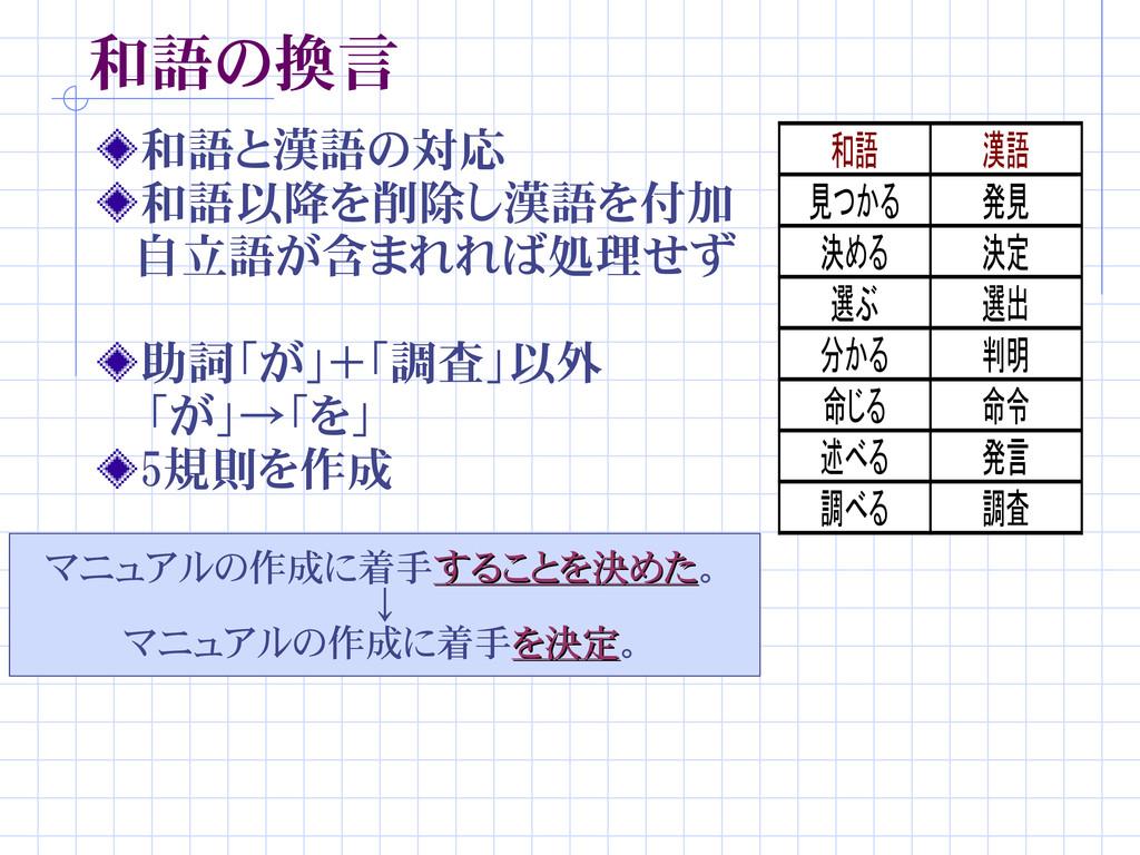 和語の換言 和語と漢語の対応 和語以降を削除し漢語を付加  自立語が含まれれば処理せず 助詞「...
