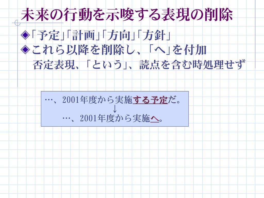 未来の行動を示唆する表現の削除 「予定」「計画」「方向」「方針」 …、2001年度から実施する...