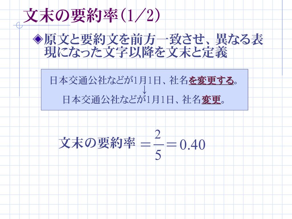文末の要約率(1/2) 原文と要約文を前方一致させ、異なる表 現になった文字以降を文末と定義 ...