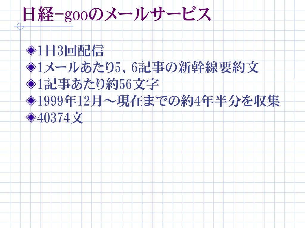 日経-gooのメールサービス 1日3回配信 1メールあたり5、6記事の新幹線要約文 1記事あた...