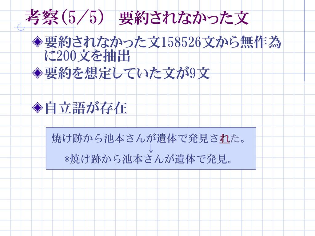 考察(5/5) 要約されなかった文 要約されなかった文158526文から無作為 に200文を抽...