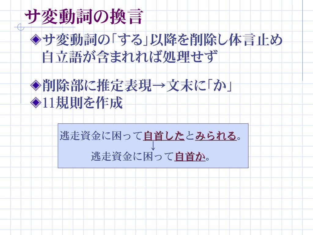 サ変動詞の換言 サ変動詞の「する」以降を削除し体言止め  自立語が含まれれば処理せず 削除部に...