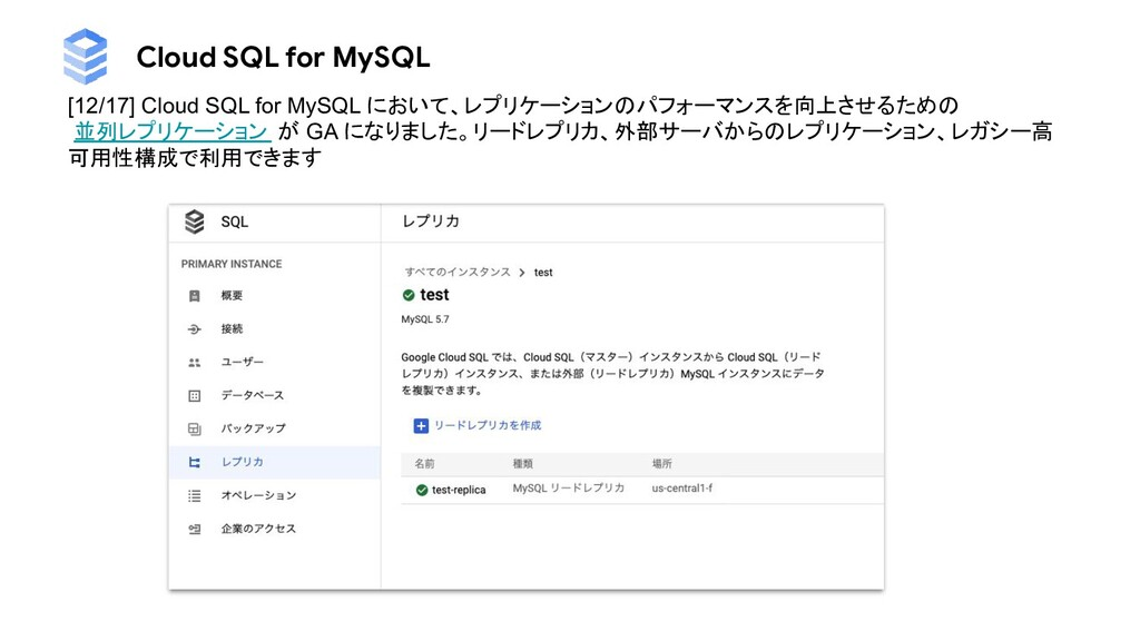 Cloud SQL for MySQL [12/17] Cloud SQL for MySQL...