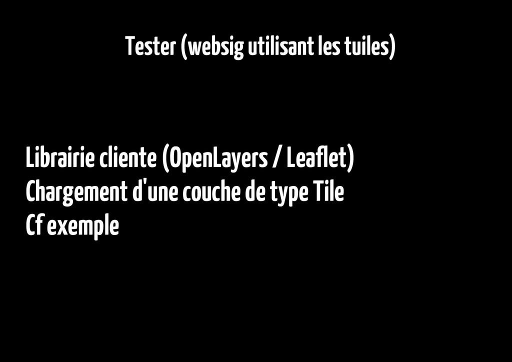 Tester (websig utilisant les tuiles) Librairie ...