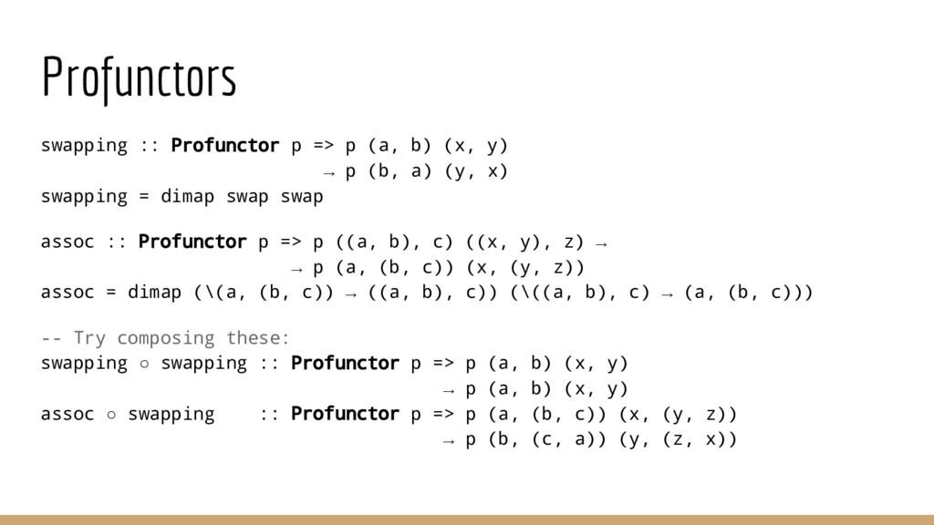 Profunctors swapping :: Profunctor p => p (a, b...