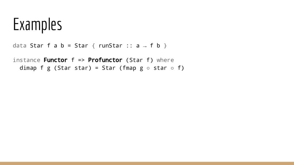Examples data Star f a b = Star { runStar :: a ...