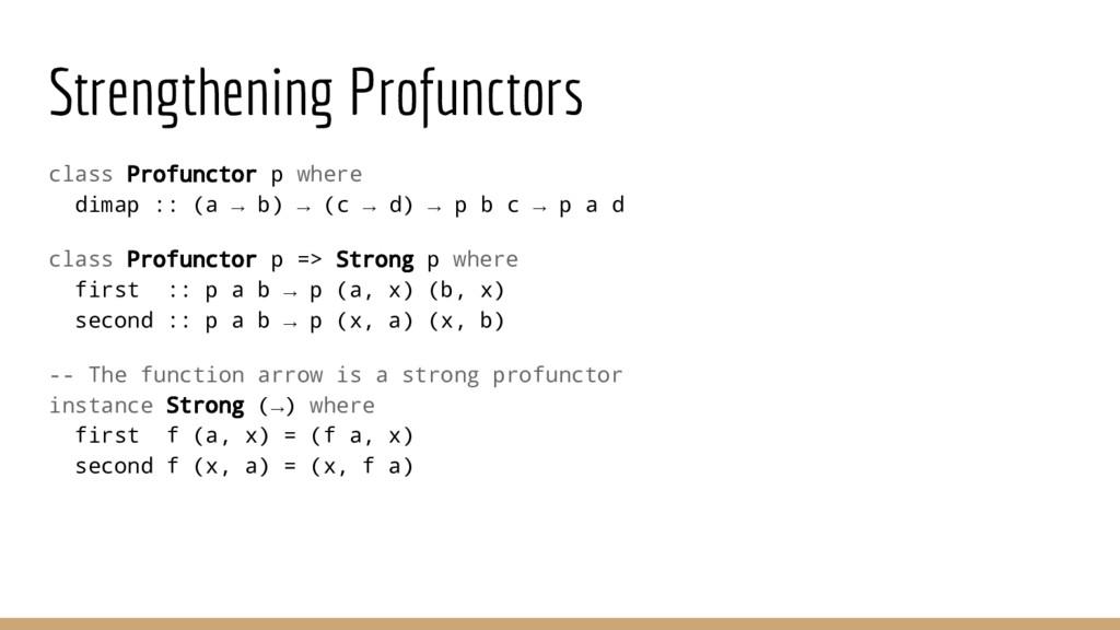 Strengthening Profunctors class Profunctor p wh...