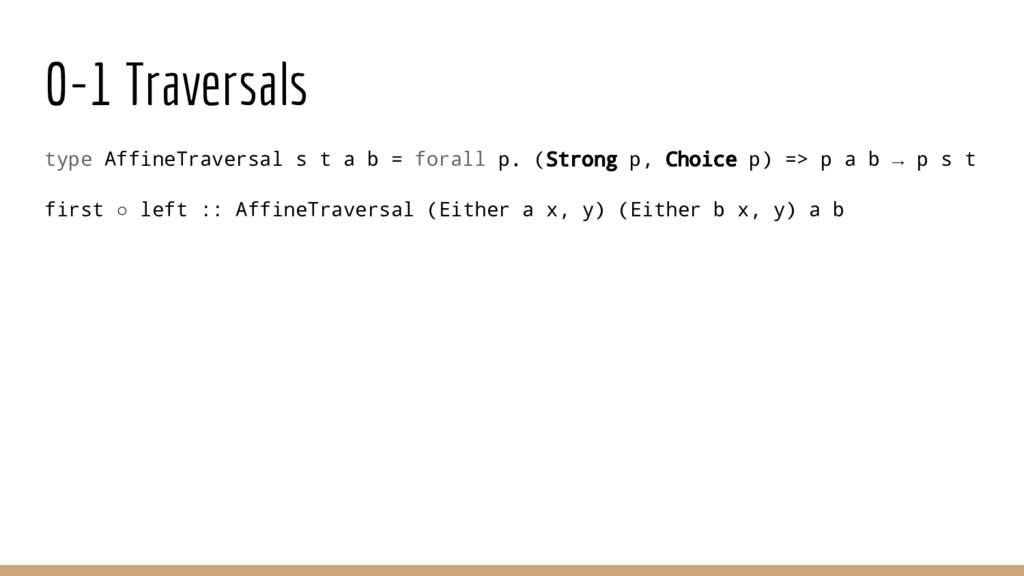 0-1 Traversals type AffineTraversal s t a b = f...