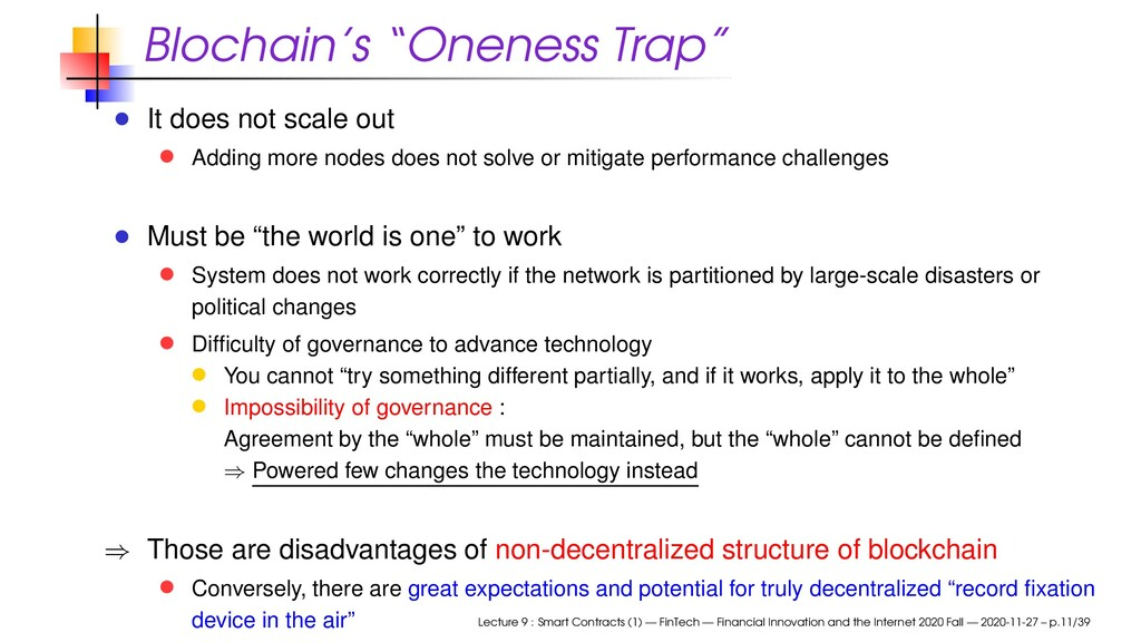 """Blochain's """"Oneness Trap"""" It does not scale out..."""