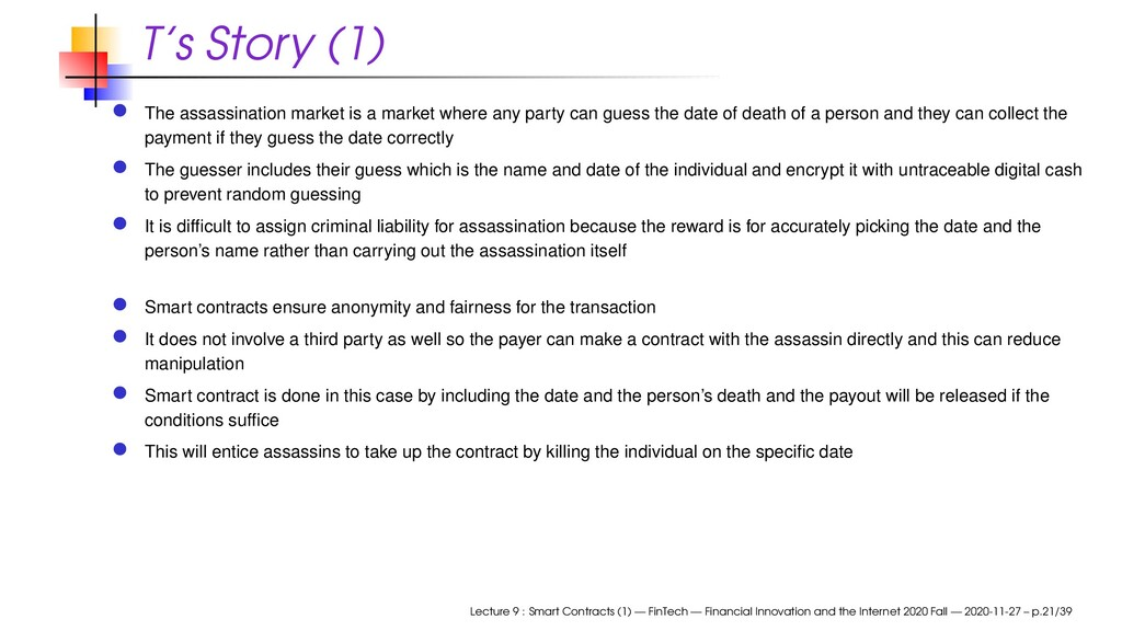 T's Story (1) The assassination market is a mar...