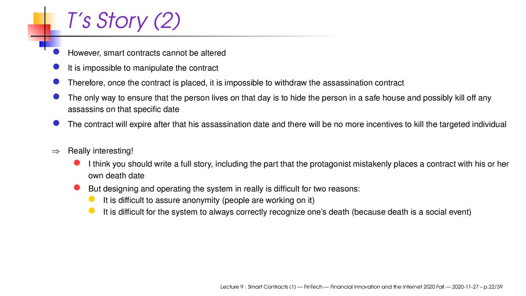 T's Story (2) However, smart contracts cannot b...