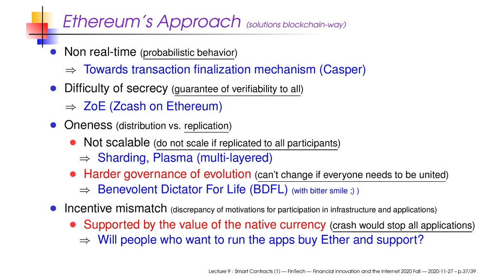 Ethereum's Approach (solutions blockchain-way) ...