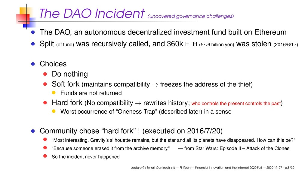 The DAO Incident (uncovered governance challeng...