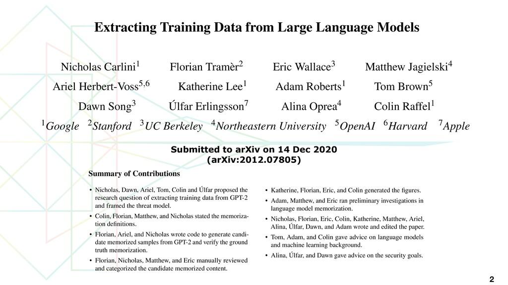 2 Extracting Training Data from Large Language ...