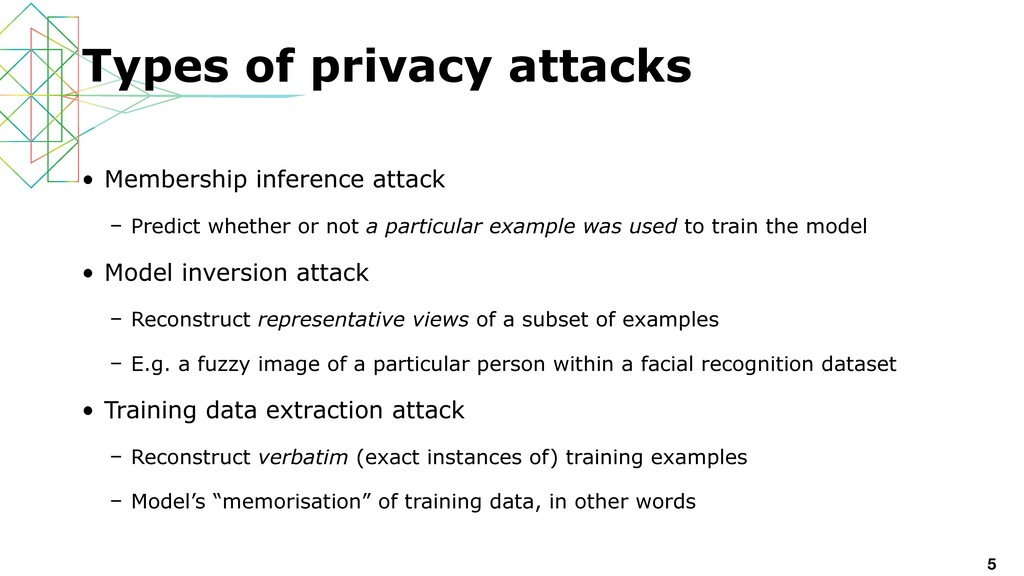 • Membership inference attack   – Predict wheth...