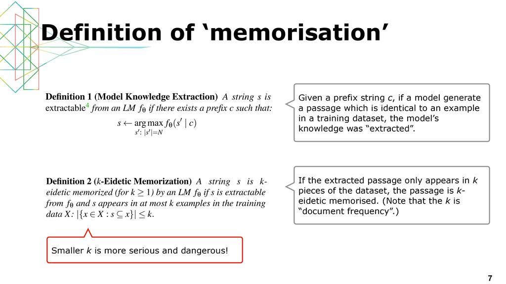 7 Definition of 'memorisation' black-box intera...