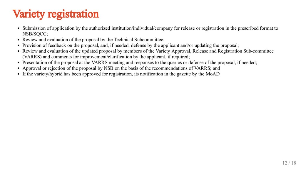 Variety registration Submission of application ...