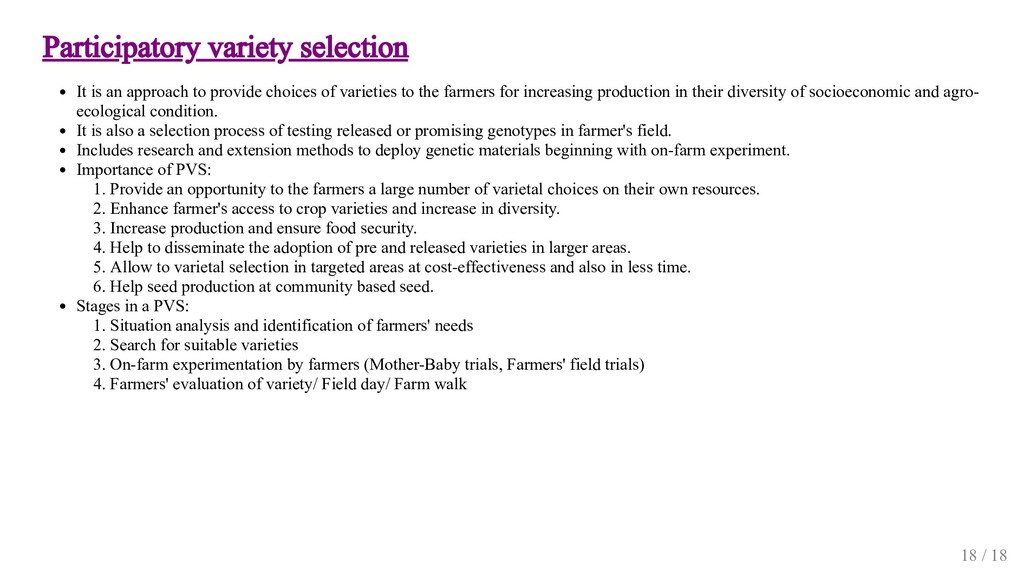 Participatory variety selection It is an approa...