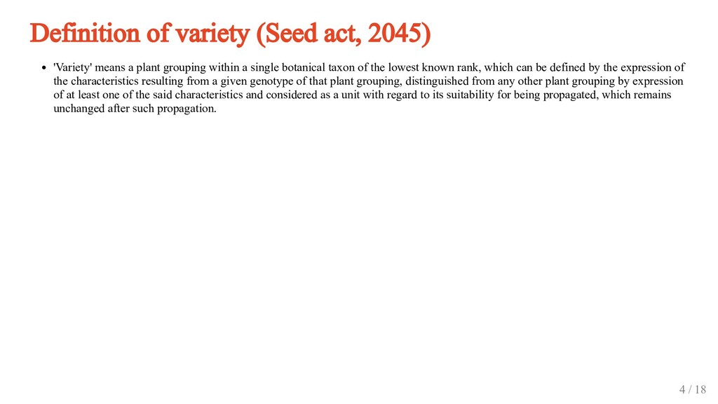 Definition of variety (Seed act, 2045) 'Variety...