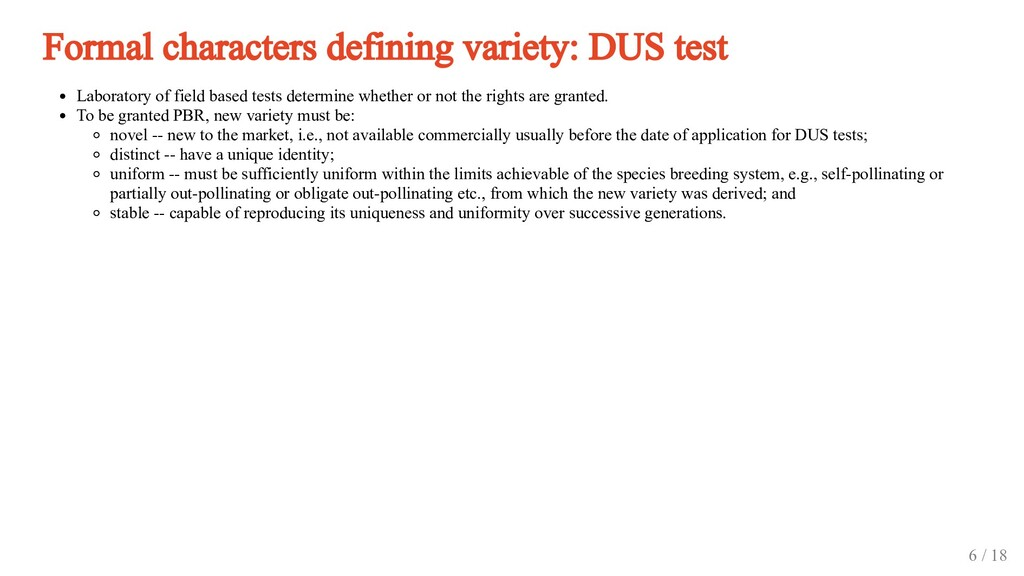 Formal characters defining variety: DUS test La...