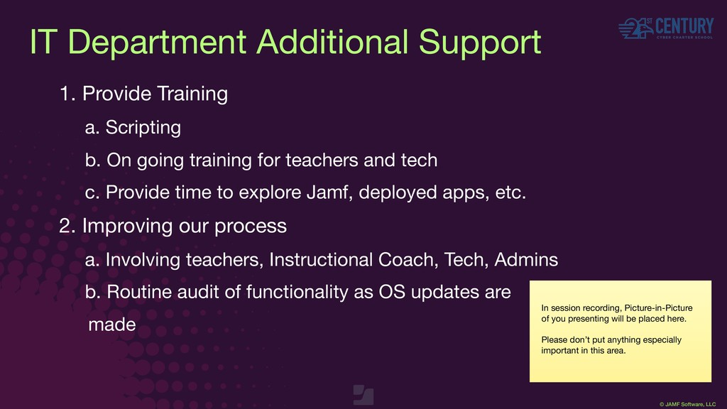 © JAMF Software, LLC IT Department Additional S...