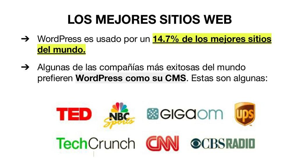 LOS MEJORES SITIOS WEB ➔ WordPress es usado por...