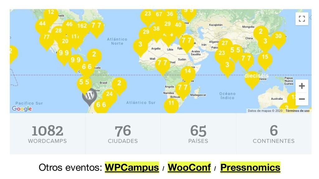 Otros eventos: WPCampus / WooConf / Pressnomics