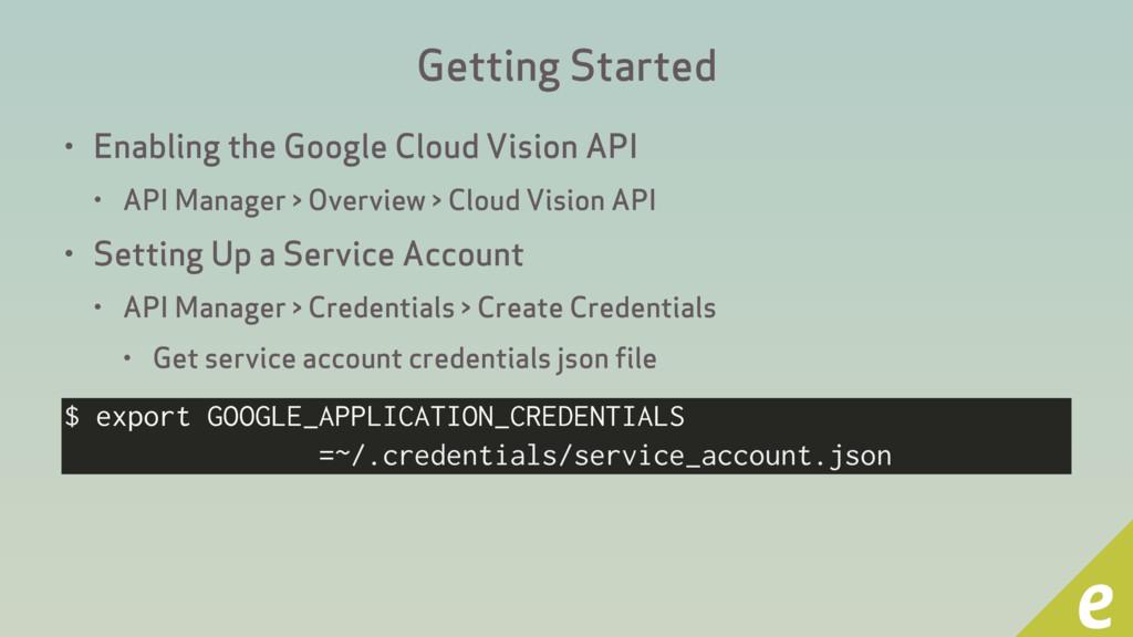 Getting Started • Enabling the Google Cloud Vis...
