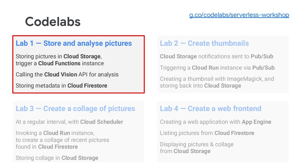 Codelabs Lab 1 — Store and analyse pictures Sto...