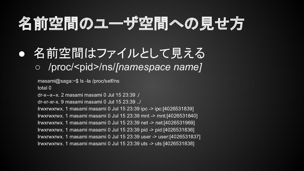 名前空間のユーザ空間への見せ方 ● 名前空間はファイルとして見える ○ /proc/<pid>...
