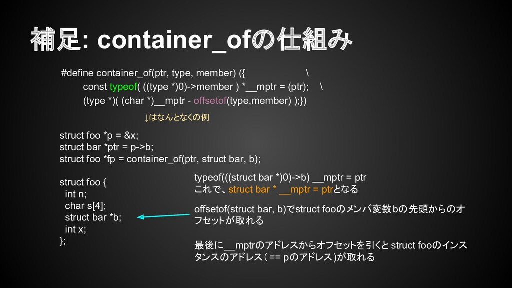 補足: container_ofの仕組み #define container_of(ptr, ...