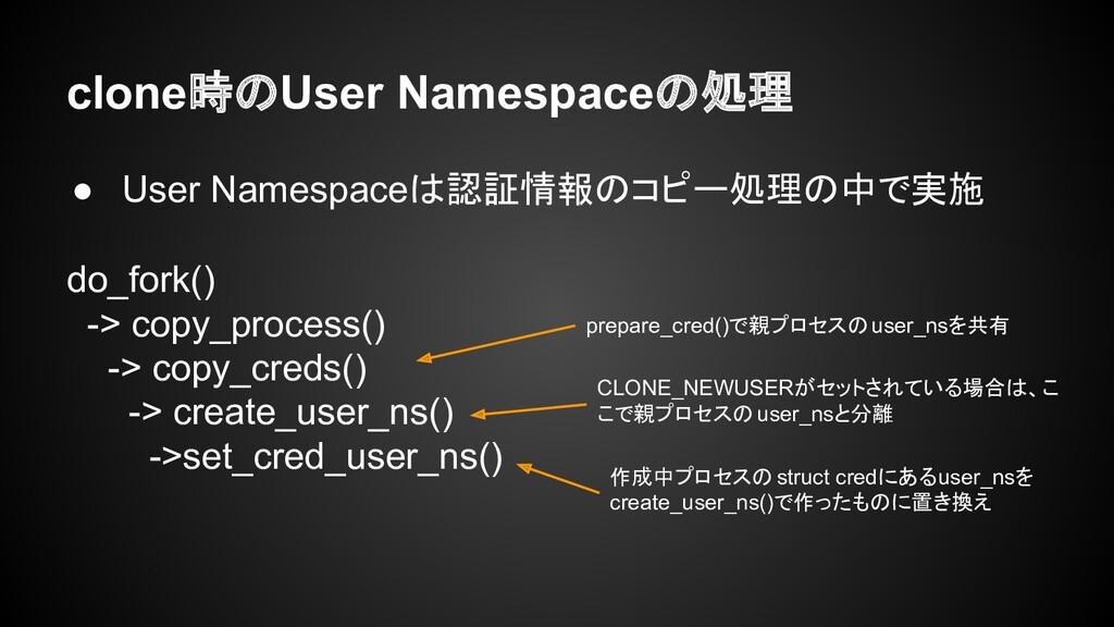 clone時のUser Namespaceの処理 ● User Namespaceは認証情報の...