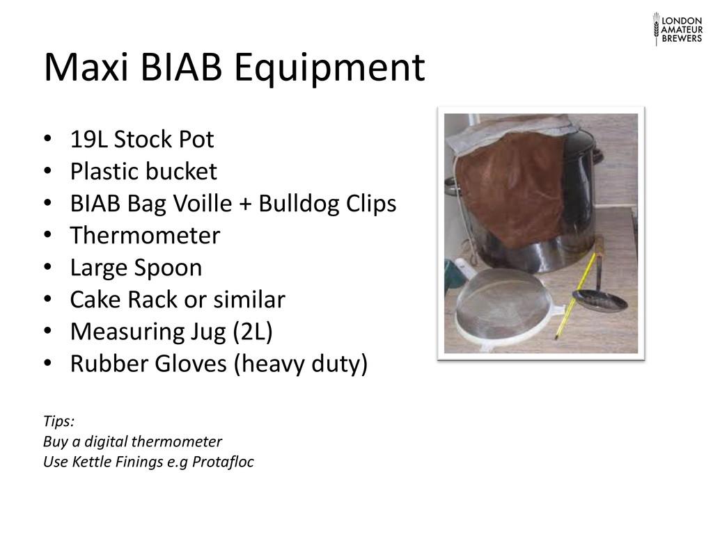 Maxi BIAB Equipment • 19L Stock Pot • Plastic b...