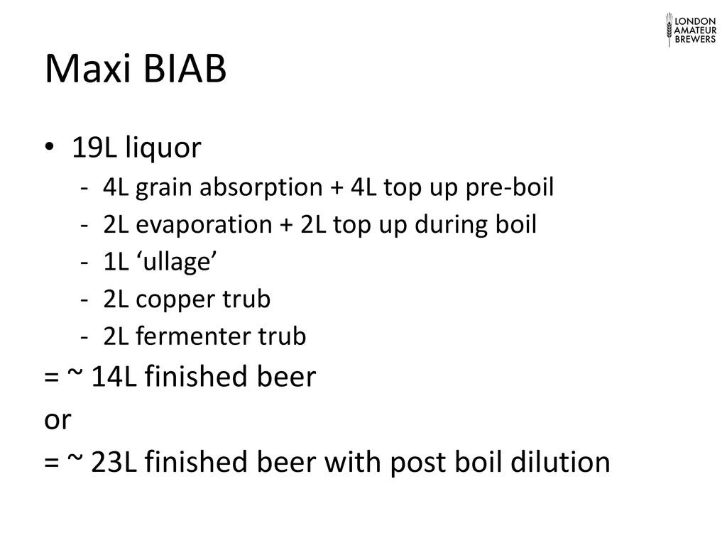 Maxi BIAB • 19L liquor - 4L grain absorption + ...