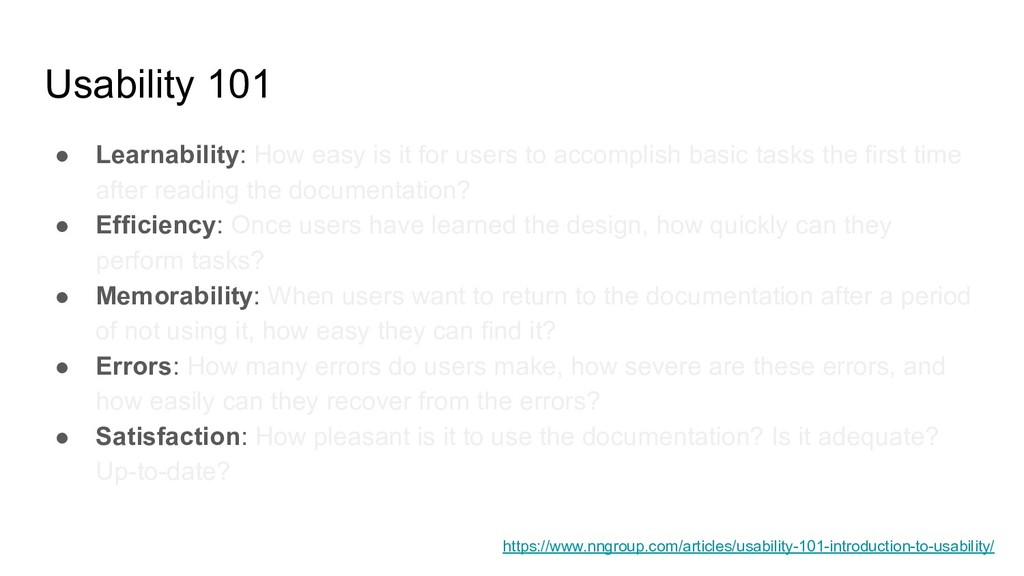 Usability 101 ● Learnability: How easy is it fo...