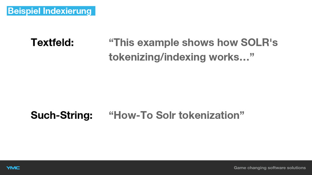 """Textfeld: """"This example shows how SOLR's tokeni..."""