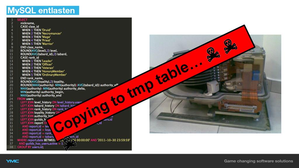 MySQL entlasten Copying to tmp table… ☠ ☠ ☠