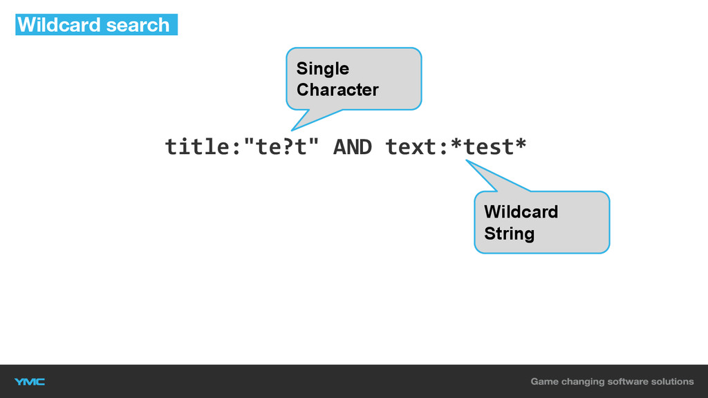 """title:""""te?t"""" AND text:*test* Wildcard search Si..."""