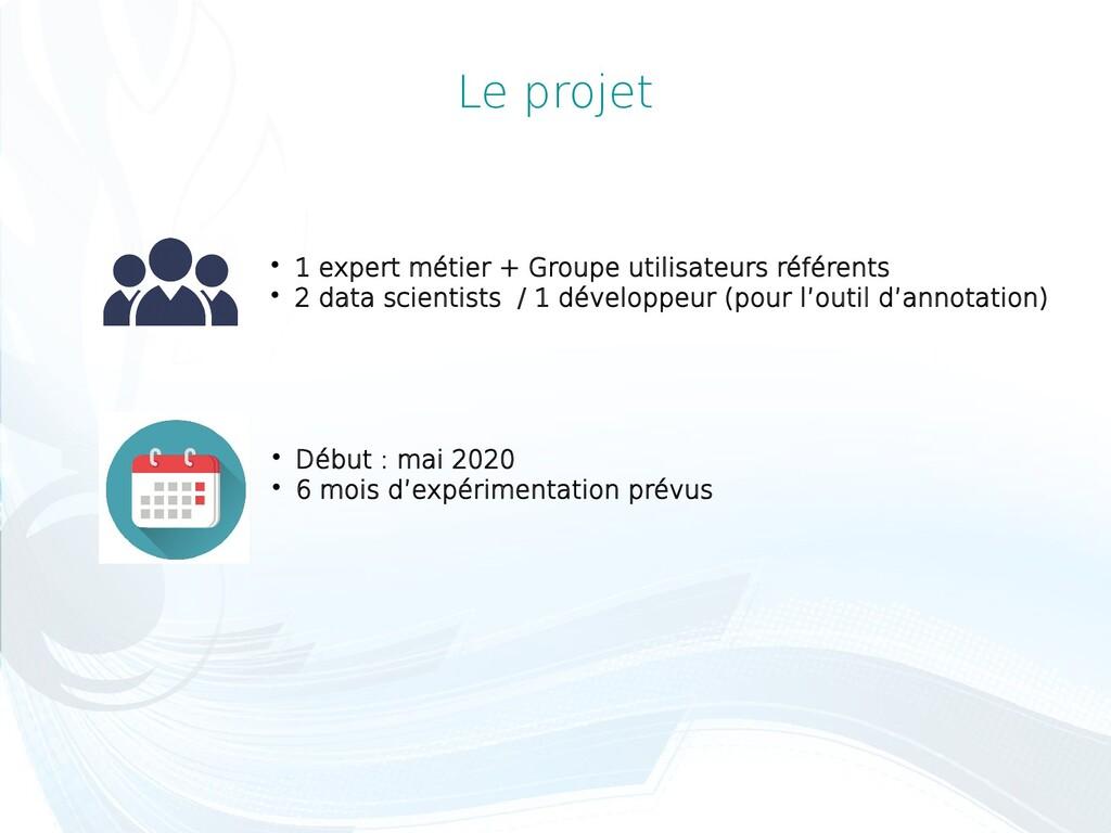 Le projet  1 expert métier + Groupe utilisateu...
