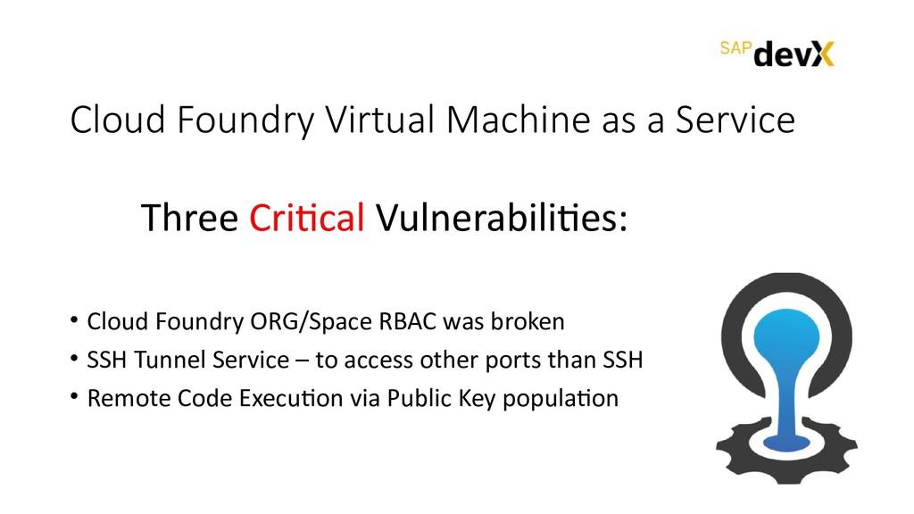 Cloud Foundry Virtual Machine as a Service • Cl...