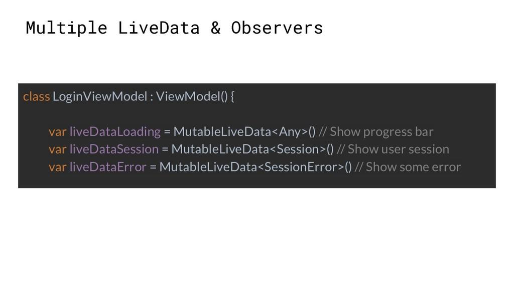 Multiple LiveData & Observers class LoginViewMo...