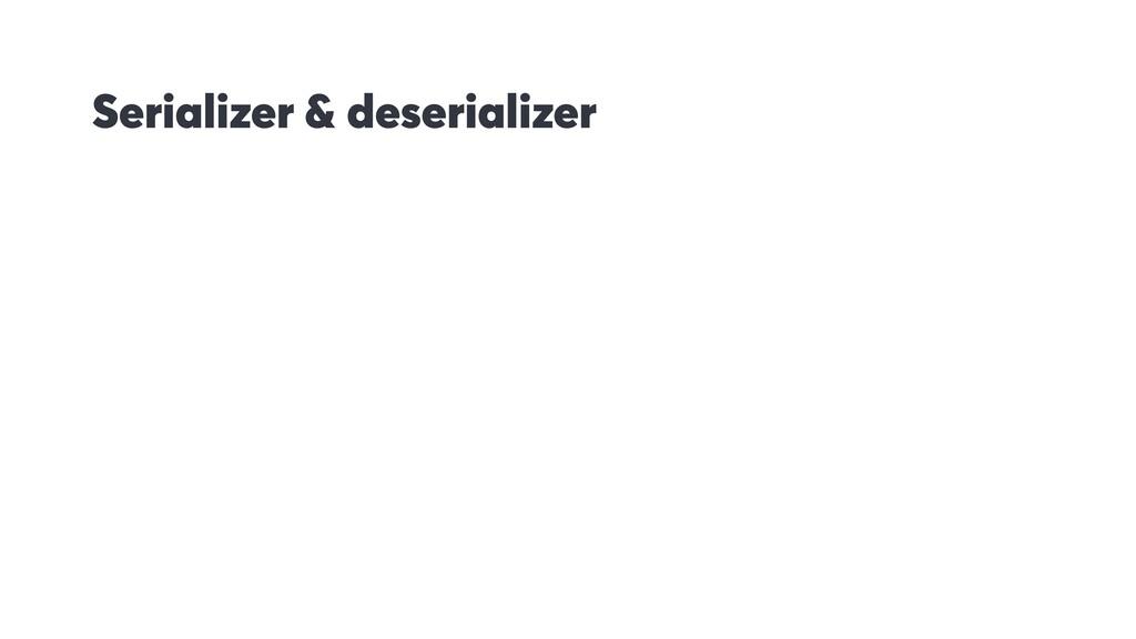 Serializer & deserializer