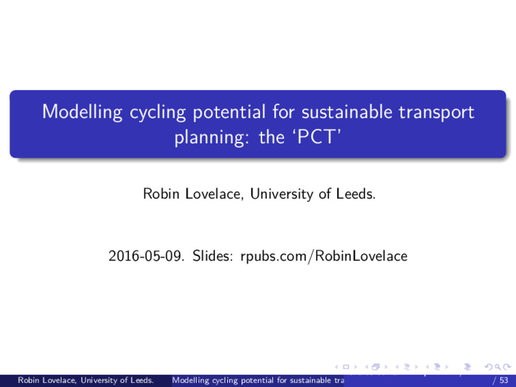 Modelling cycling potential for sustainable tra...