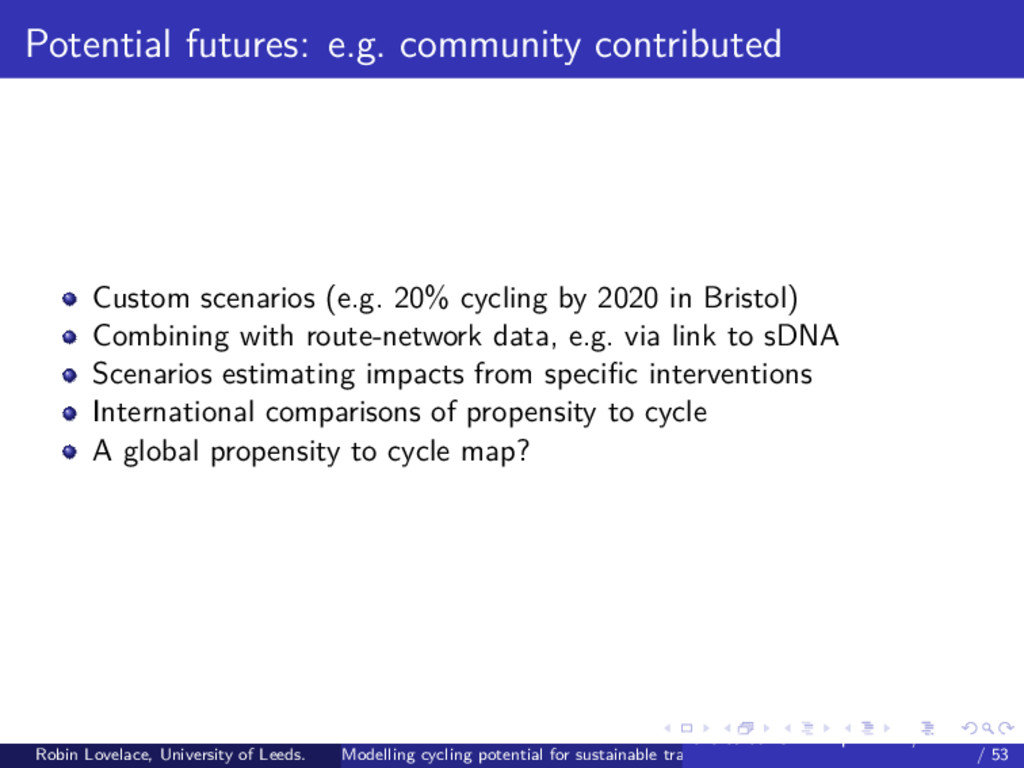 Potential futures: e.g. community contributed C...