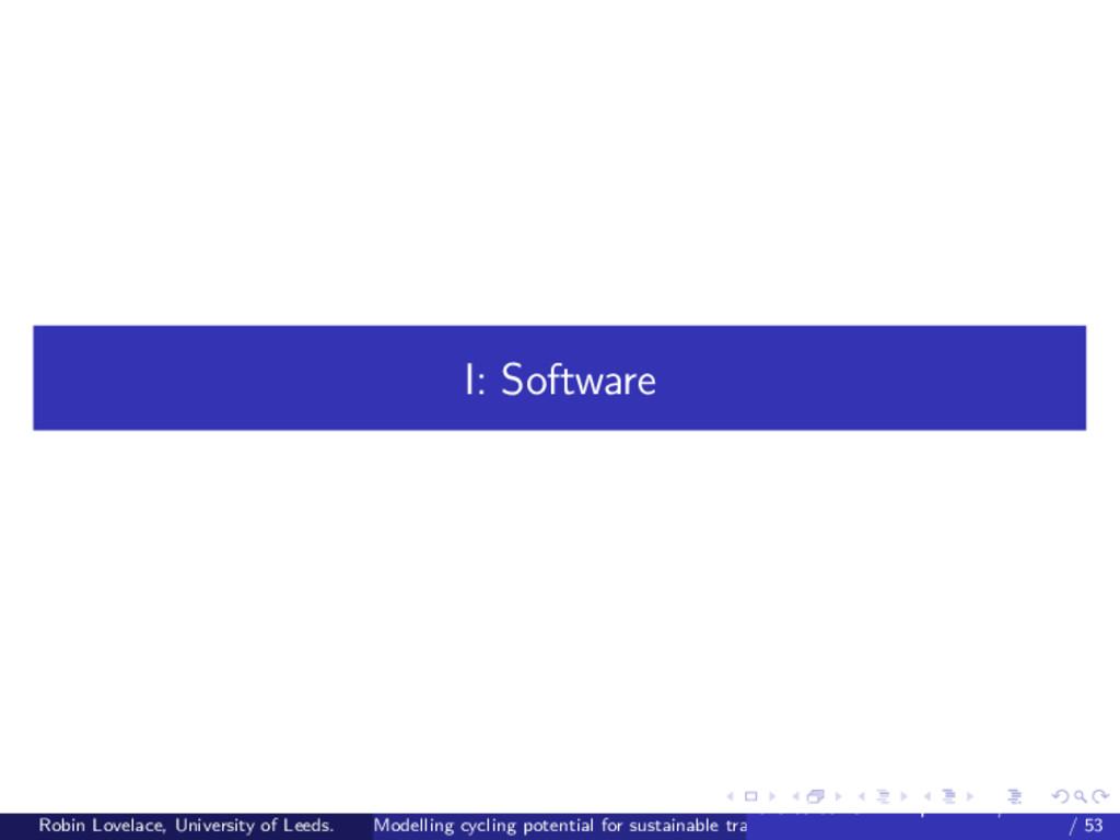 I: Software Robin Lovelace, University of Leeds...
