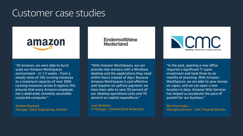 "Customer case studies ""At Amazon, we were able ..."